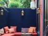 Decoración de terrazas y patios: azul y rosa