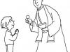 Dibujos de Comunión para colorear: Niño comulgando