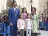 Familia Real en la Misa de Pascua en Mallorca 2016: Los Reyes con sus hijas y la Reina Sofía