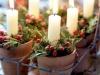 Adornos de Navidad vintage: centro de mesa con velas