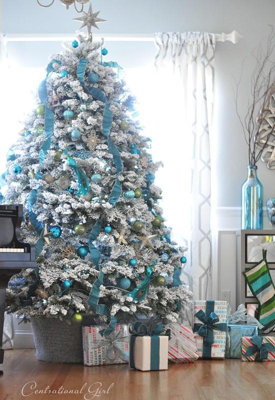 rbol de navidad blanco adornos azul y plata rbol de navidad blanco adornos azul y plata - Arboles De Navidad Blancos
