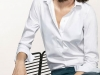 Camisa Blanca Mujer: Massimo Dutti look con pantalón azul