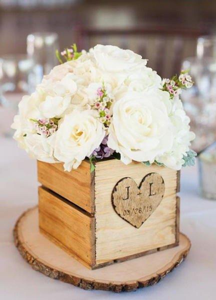 Centros de mesa para bodas de madera ideas incre bles - Mesas hechas con cajas de madera ...