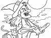Dibujos para colorear de Halloween: bruja con escoba