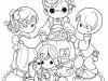 Dibujos para colorear del día de la madre: mamá con tres niños