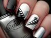 Diseños de uñas de Carnaval: blanco, negro y plateado