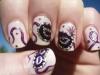 Diseños de uñas de Carnaval: máscaras moradas
