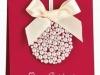 Felicitaciones de Navidad caseras: Con lazo y perlas