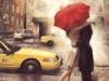 Fotos de San Valentín: pareja con paraguas rojo