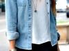 Looks de encaje: falda corta con camisa vaquera