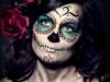 Maquillaje de Catrina para Halloween: azul y rojo