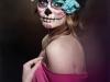 Maquillaje de Catrina para Halloween: azul