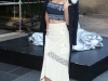 Miranda Kerr presentación estrella Swarovski en Nueva York: posando con abrigo