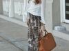 Pantalón palazzo: look con blusa blanca