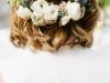 Peinados de novia con pelo corto 2016: semirecogido flores