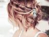 Peinados de novia con pelo corto 2016: semirecogido trenza espiga