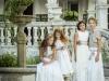 Rubio Kids Comunión 2017: niñas vestidos beige de flores