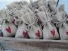 Saquitos de arroz para bodas: sacos de esparto