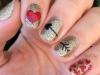 Uñas decoradas San Valentín: corazones y flecha