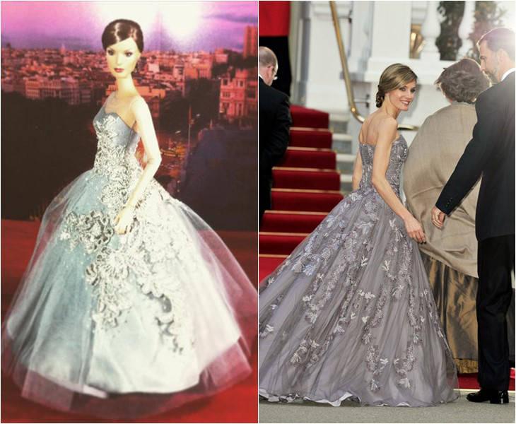 La Reina Letizia se convierte en una muñeca Barbie: vestido Felipe Varela