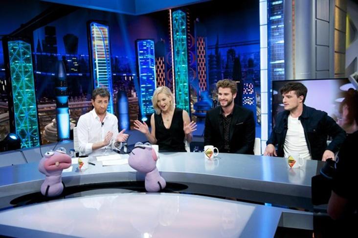 Jennifer Lawrence, Liam Hemsworth y Josh Hutcherson en 'El Hormiguero'.