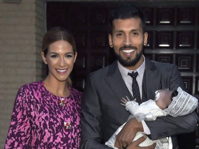 Tamara Gorro y Ezequiel Garay felices en el bautizo de Shaila
