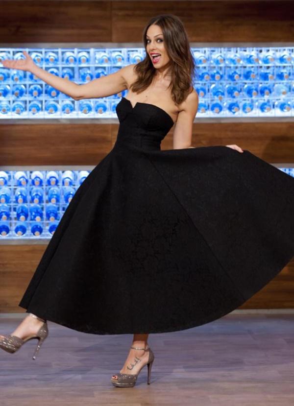 Eva González vestido de Jorge Vázquez y zapatos de Lodi