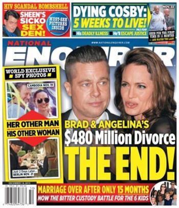 Angelina Jolie y Brad Pitt. portada The National Enquirer