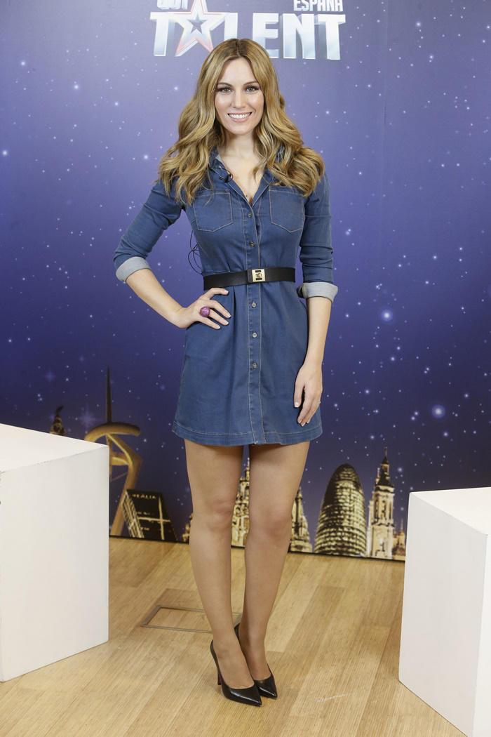 Edurne look denim en la presentación de Got Talent España