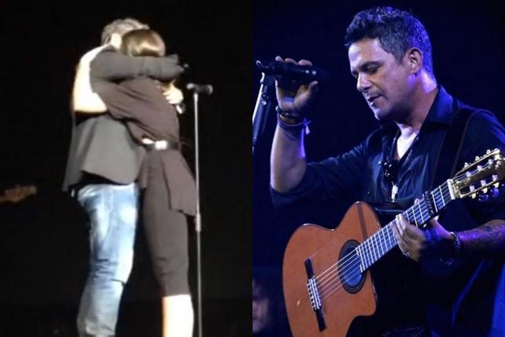 Alejandro Sanz emocionado con su hija Manuela en el escenario