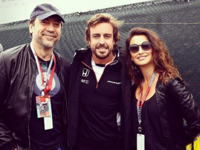 Penélope Cruz y Javier Bardem animan a Fernando Alonso en Montreal