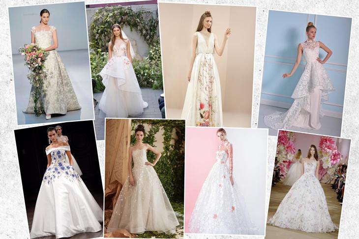 vestidos de novia con flores 2017, la tendencia más romántica [fotos
