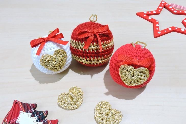 Manualidades de crochet: Bolas de Navidad de ganchillo