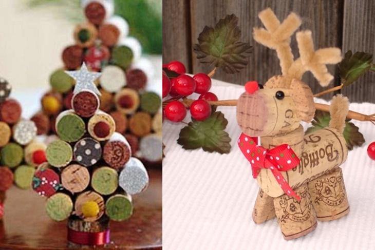Adornos de Navidad con tapones de corcho Manualidades fciles