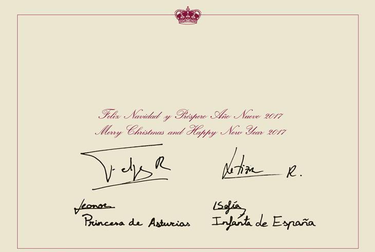 Reverso de la felicitación de Navidad de la Familia Real